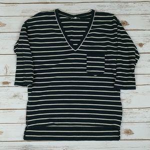 Madewell Black/Off-White V-Neck Shirt